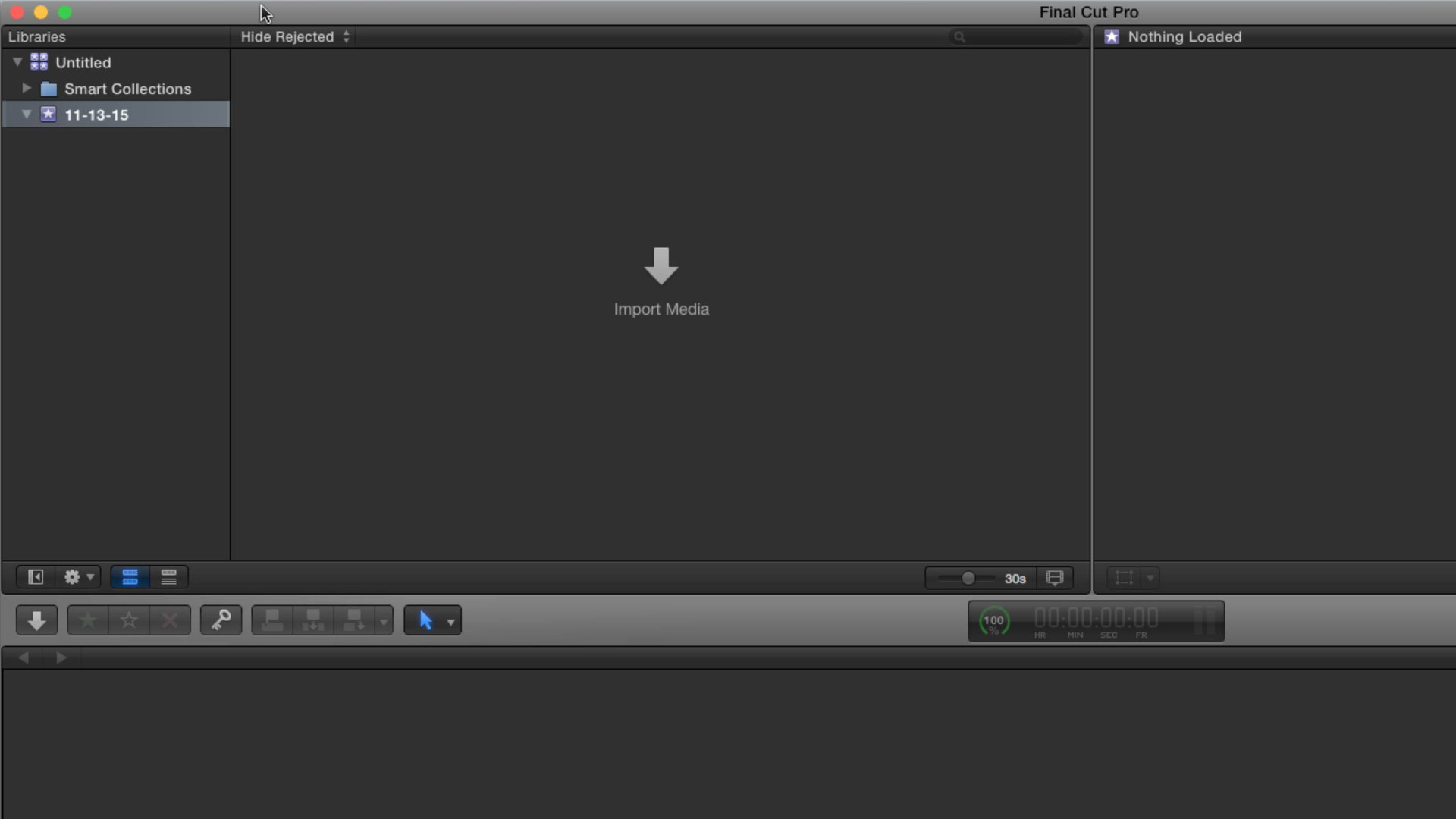 The Libraries Pane, Media Browser, and Timeline of Final Cut Pro X